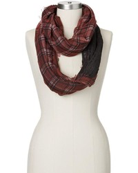 Manhattan Accessories Co Mixed Media Plaid Knit Infinity Scarf