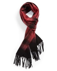 Nordstrom Plaid Dip Dye Woven Cashmere Scarf Red One Size One Size