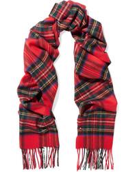 Tartan cashmere scarf red medium 5261136