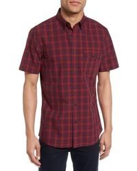 Burgundy Plaid Short Sleeve Shirt