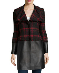 Lafayette 148 New York Cecille Shimmer Tweed Leather Coat Blackred