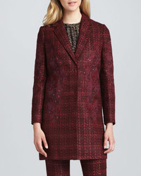 Tory Burch Patsy Glazed Tweed Coat Dark Plum