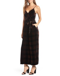 J.Crew Plaid Velvet Jumpsuit With Waist Tie