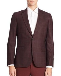Burgundy Plaid Wool Blazer