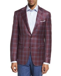 Canali Plaid Wool Two Button Sport Coat Berry Redblue