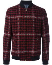 Burgundy Plaid Wool Bomber Jacket
