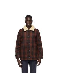 Burgundy Plaid Wool Shirt Jacket