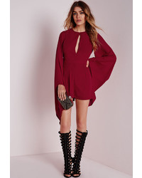 61298113ef5 No Brand Jarlo Nadia Playsuit Out of stock · Missguided Cape Sleeve Romper  Burgundy
