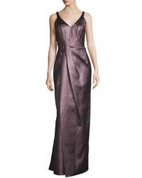 Burgundy Pleated Evening Dress