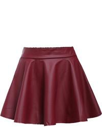 Burgundy Pleated Leather Mini Skirt