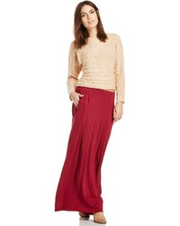 Dailylook pocketed stretch knit maxi skirt in olive s medium 156929
