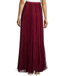 J. Mendel Pleated Maxi Skirt Red | Where to buy & how to wear