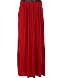 River Island Red Belted Side Split Maxi Skirt
