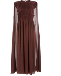 Burgundy Pleated Midi Dress