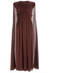 Valentino Midi Length Pleated Silk Dress With Cape