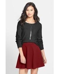 Burgundy Pleated Mini Skirt