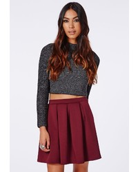 Missguided Cornelia Scuba Pleated Skater Skirt Burgundy