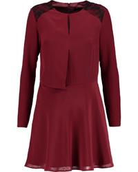 Karl Lagerfeld Hannah Lace Paneled Flared Silk Crepe De Chine Mini Dress