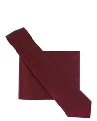 City of London Tie And Pocket Square Set Red Wine