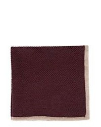 Isaia Contrast Border Pocket Square