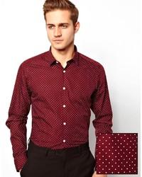 Burgundy Polka Dot Dress Shirts for Men | Men's Fashion