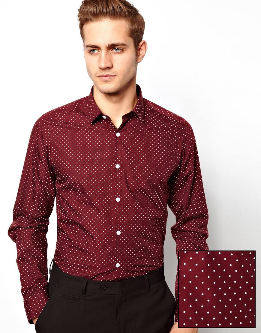 Asos Smart Shirt In Long Sleeve With Polka Dot Print | Where to ...