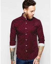 Burgundy Polka Dot Dress Shirts For Men Men S Fashion