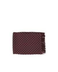 Michelsons of london polka dot broad silk scarf burgundy medium 99889