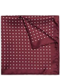 Burgundy Polka Dot Silk Pocket Square