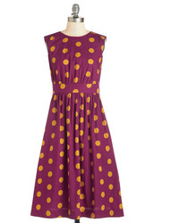 Ltd too much fun dress in burgundy dots long medium 228734