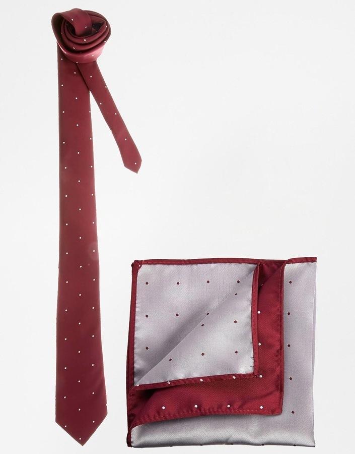 ... Asos Brand Polka Dot Tie And Pocket Square Set ...