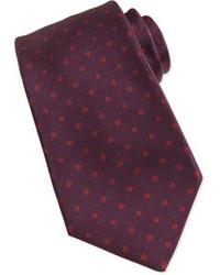 Kiton Polka Dot Print Silk Tie Burgundyred