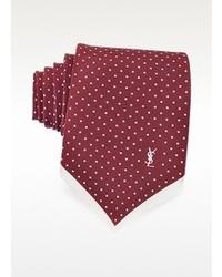 Saint Laurent Polkadot Print Silk Narrow Tie
