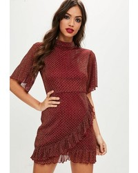 Missguided Burgundy Polka Dot Mesh Wrap Dress