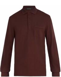 Ermenegildo Zegna Long Sleeved Cotton Blend Jersey Polo Shirt
