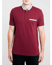Topman Burgundy Chambray Polo Shirt