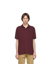 Comme des Garcons Homme Deux Burgundy Fred Perry Edition Pique Polo
