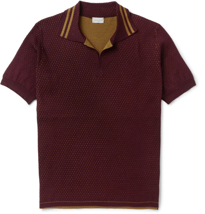 Slim Fit Double Faced Cotton Polo Shirt. Burgundy Polo by Dries Van Noten