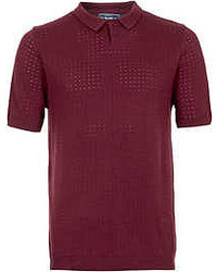 Topman Burgundy Short Sleeve Knitted Polo Shirt