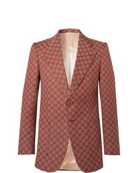 Gucci Brick Logo Jacquard Cotton Blend Blazer
