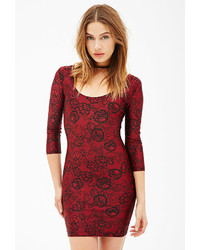 Forever 21 Lace Print Bodycon Dress