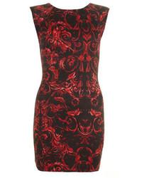 Red printed bodycon dress medium 146077