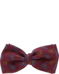 Burgundy Print Bow-tie