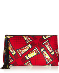 Finds atelier vlisco xxl leather trimmed printed scuba jersey clutch medium 130928
