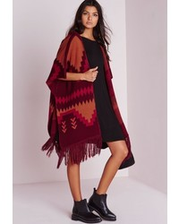 Missguided Hooded Poncho Burgundy