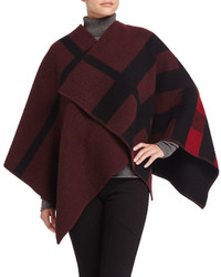 Burberry Prorsum Mega Check Wool Blend Cape Redblack