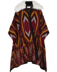 Chloé Shearling Trimmed Wool Blend Jacquard Cape
