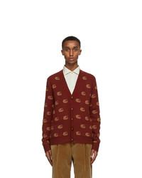 Gucci Burgundy Wool Jacquard Double G Cardigan
