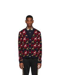Gucci Red And Navy Jacquard Equestrian Cardigan