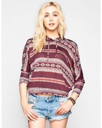 Full Tilt Ethnic Print Dolman Crop Sweatshirt